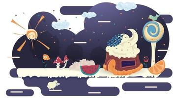 House cupcake cake with berries on the roof in a glade of icing among trees and flowers flat vector illustration for design decoration