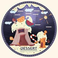 two cupcake houses in a glade of icing flowers with the words dessert round sticker flat design vector