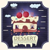 House cake slice with cherry on the roof and icing with the inscription dessert square sticker flat design vector
