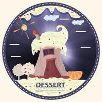 cake cupcake in the form of a house with the inscription dessert round sticker flat design vector