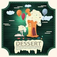 House cake with icing and wood and lettering dessert square sticker flat design vector