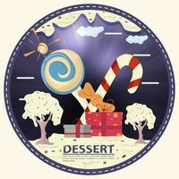 candy and gift boxes in a clearing made of icing with the words dessert round sticker flat design vector