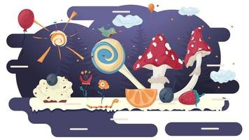 Mushroom fly agaric in a glade of glaze among trees flowers berries fruits and balloons flat vector illustration for design design