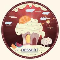 cake cupcake in the form of a house light in the window on the roof is a citrus with the inscription dessert round sticker flat design vector