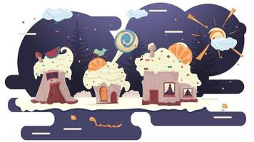 three cupcake houses with berries on the roof in a glade of icing among trees flowers flat vector illustration for design design