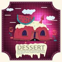 House cake with watermelon slice on the roof and icing with the inscription dessert square sticker flat design vector