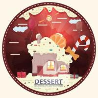 house cupcake with a slice of citrus on the roof among the gifts in the glade of icing with the inscription dessert round sticker flat design vector