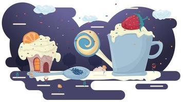 Taza con bebida y espuma con fresas y cupcake en un claro de glaseado entre árboles flores ilustración vectorial plana para diseño de diseño vector