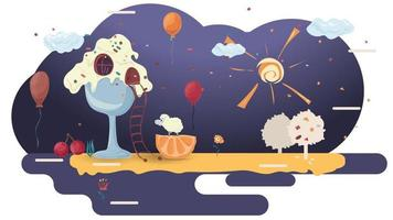House ice cream with a ladder among the balloons on glazurovki a clearing among the trees flat vector illustration for design