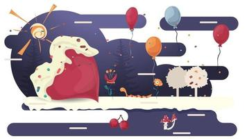 Red heart lies in a glade of glaze among trees and flowers flat vector illustration for design decoration