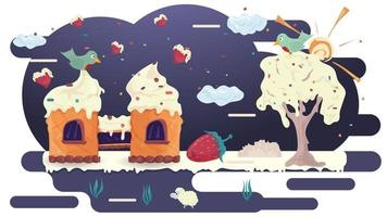 House castle waffle pastry with a bird on the roof on glaze glade among the trees flat vector illustration for design decoration
