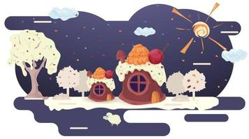 Houses baking cupcakes with cherries on the roof and cream on the glaze glade among the trees flat vector illustration for design design