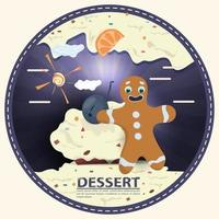 gingerbread man stands next to a cupcake and berry on cream with the words dessert round sticker flat design vector