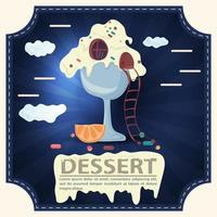 Ice cream house with the inscription dessert square sticker flat design vector