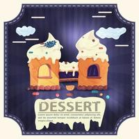 House cake castle with icing with the word dessert square sticker flat design vector