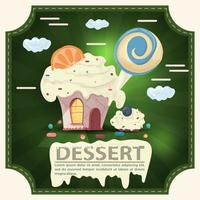 Tarta de la casa con glaseado y una rodaja de cítricos y dulces con la inscripción postre pegatina cuadrada diseño plano vector