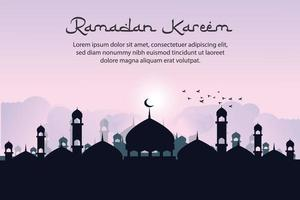 Ramadan kareem islamic greeting background design with silhouette mosque and arabic calligraphy vector