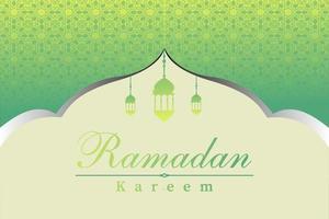 Ramadan kareem islamic greeting background design with mosque, lantern and arabic calligraphy pattern vector