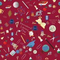 seamless pattern illustration on school theme, international literacy day, back to school, flat style vector