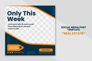 Modern real estate social media post template banner design. web banner promotion design vector
