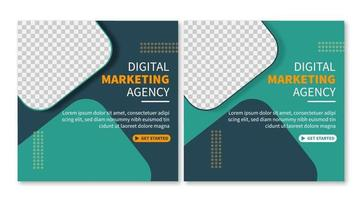Set of Professional general business digital marketing agency social media post template collection. online web promotion banner
