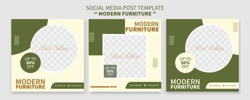 Set of Creative premium furniture sale promo social media post template collection. best for business online promotion. social web advertising vector
