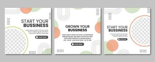 Set of Professional business digital marketing agency social media post template collection. online web promotion banner