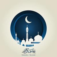 Ramadan Kareem Arabic Calligraphy with mosque silhouette, crescent moon and Islamic lanterns. Ramadan Kareem is a month of fasting for Muslims. vector
