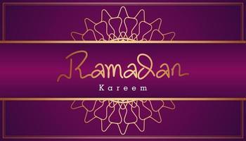 Beautiful purple and gold Arabic calligraphy Ramadan Kareem text and ornamental pattern design background. Vector Illustration