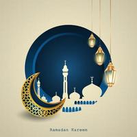 Islamic Ramadhan Kareem design with a crescent moon, Islamic lanterns, the silhouette of a mosque dome vector