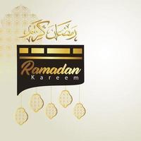 Ramadan Kareem with kaaba vector