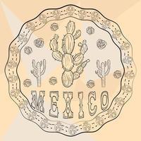 Ilustración de contorno pegatina de ornamento circular con calaveras tema mexicano para diseño de decoración vector