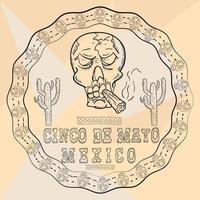 Ilustración de contorno pegatina de ornamento circular con calaveras tema mexicano para diseño de decoración y fondos vector