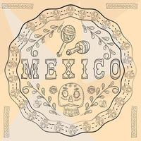 contour illustration circular ornament sticker with skulls Mexican theme for decoration design vector