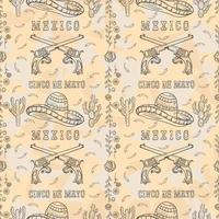 contour illustration of a seamless Mexican theme for design vector