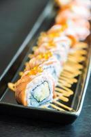 Salmon sushi roll photo