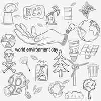 contour illustration for the design of various objects of human life, the theme for world environment day vector