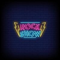 Rock Show Neon Signs Style Text Vector