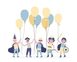Boys with balloons in carnival costumes for their birthday vector