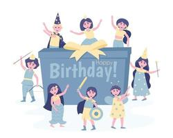 Children with a gift in carnival costumes at their birthday party vector