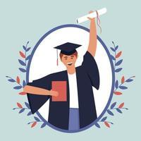 feliz adolescente se graduó de la institución educativa vector