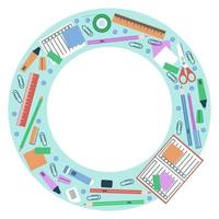 Circle frame for school stationery vector