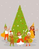 niños disfrazados de carnaval bailan alrededor del árbol de navidad vector