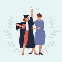 Mom looks at her graduate daughter with a diploma and a scroll vector