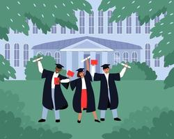 Graduates with diplomas and scrolls near the educational institution vector