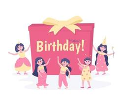 Girls with a gift in carnival costumes for their birthday vector