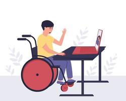 chico discapacitado se comunica con una chica que conoce a través de la comunicación por video vector