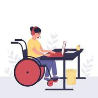 Disabled girl behind a laptop in headphones with a microphone vector