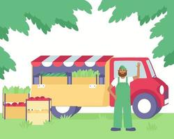 A farmer sells fresh vegetables from his farm in a truck
