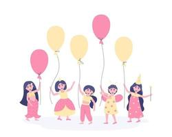 Girls with balloons in carnival costumes on their birthday vector